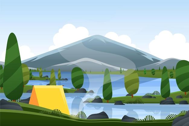 Весенний пейзаж с кемпингом и горами Бесплатные векторы