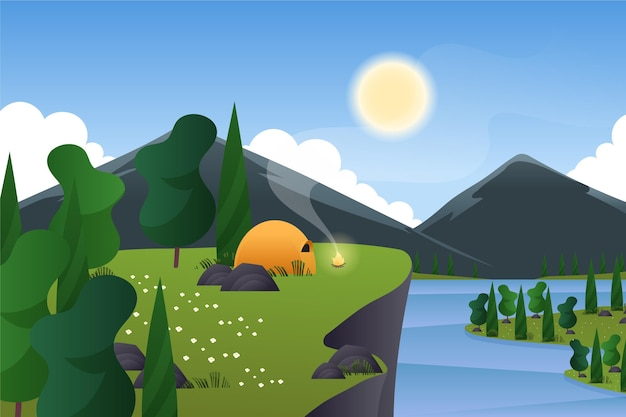 Spring landscape with camping in tent and moutains Free Vector