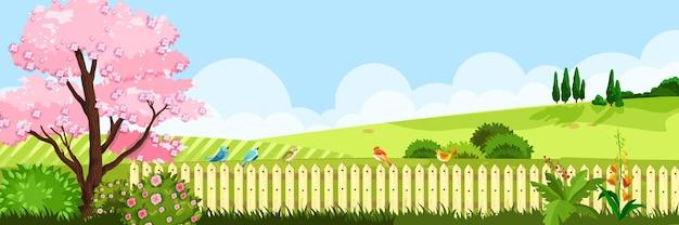 草の牧草地、桜の木、生け垣、丘、空、雲のある春の風景。 Premiumベクター