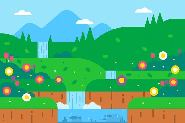 Весенний пейзаж с зеленью и водопадом Бесплатные векторы