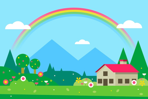 Весенний пейзаж с домом и радугой Бесплатные векторы