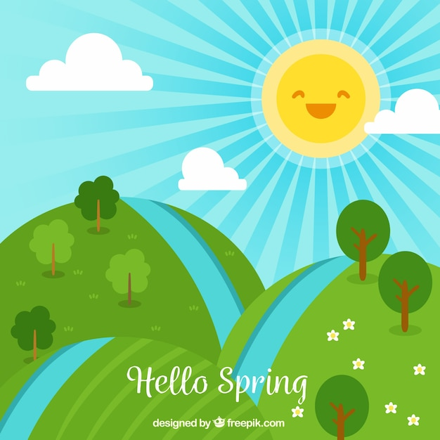 Spring landscape with laughing sun Free Vector