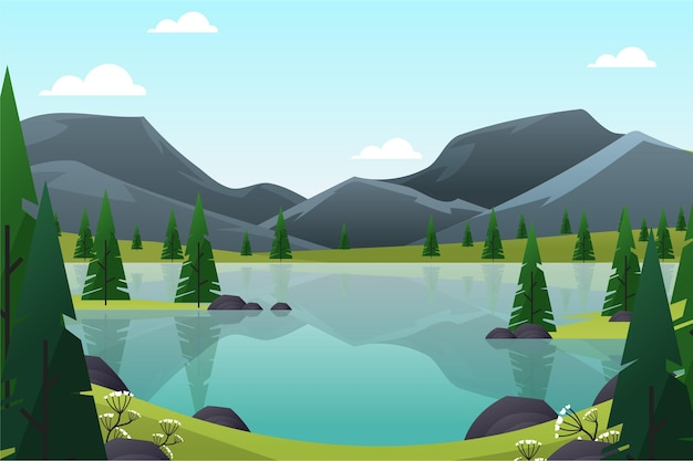 Spring landscape with mountains and lake Free Vector