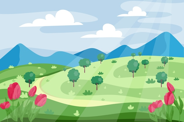 Spring landscape with road and tulips Free Vector