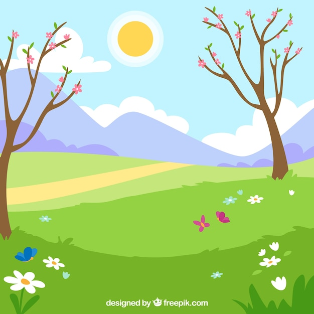 Spring landscape with two trees Free Vector