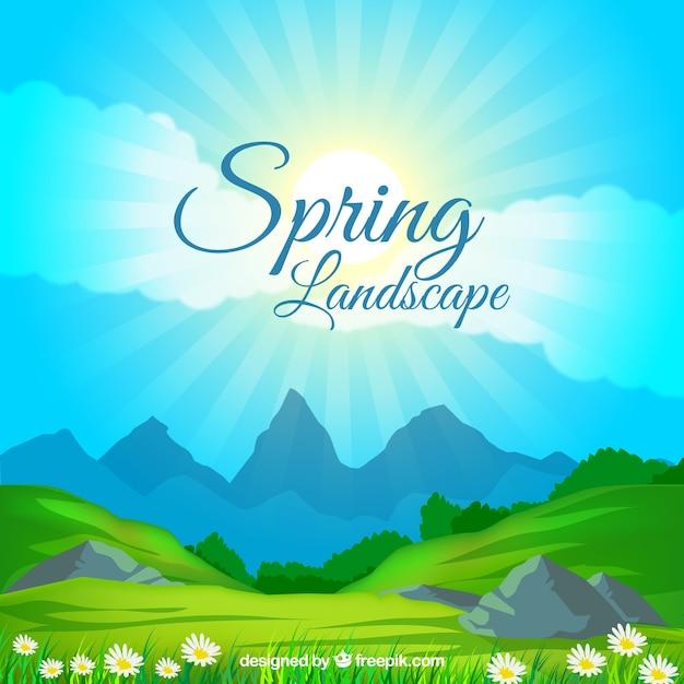 Spring landscape  Premium Vector