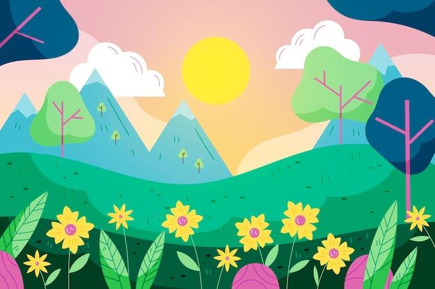 봄 풍경 무료 벡터