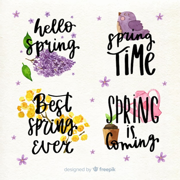 Spring lettering quote collection Free Vector