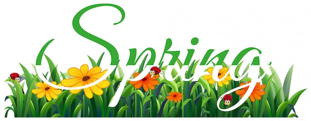 Spring lettering Free Vector
