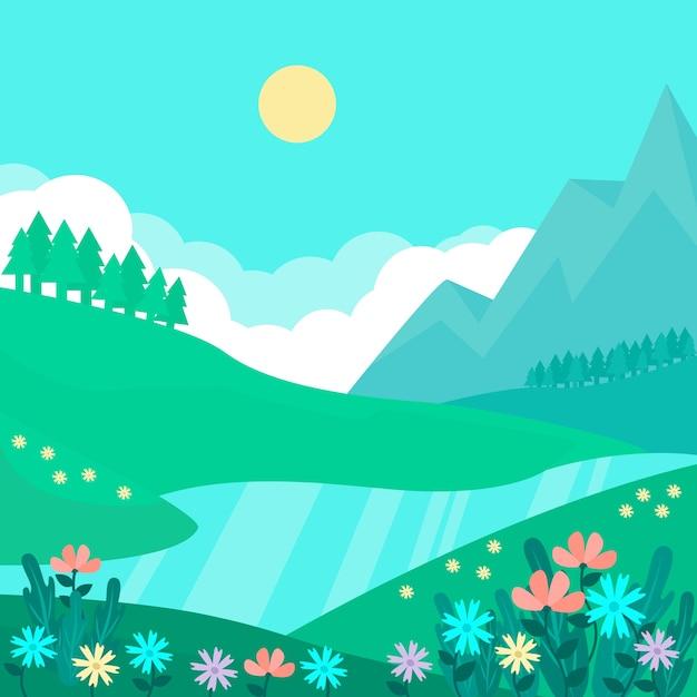 Paesaggio naturale della primavera con il fiume e le montagne alla luce del giorno Vettore gratuito