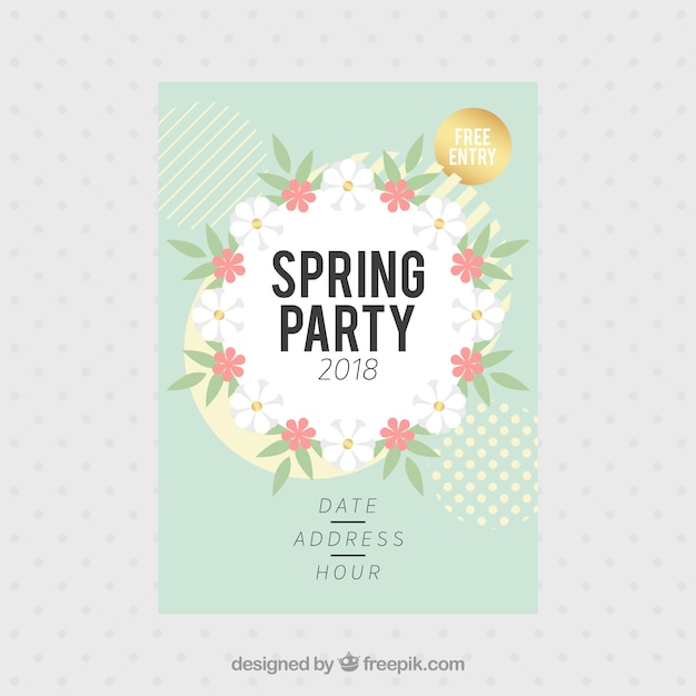 Spring Party Flyer Template Vector  Free Download