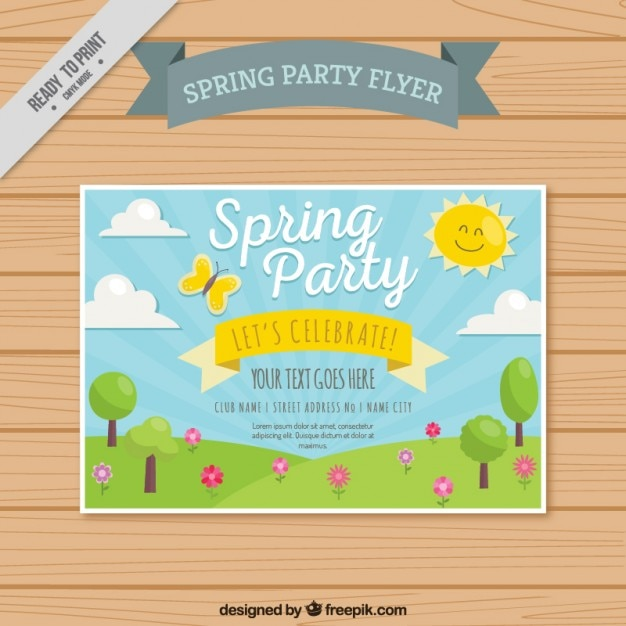 Spring Party Flyer With Cute Landscape Vector | Free Download