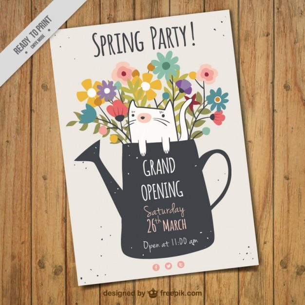 Spring party flyer with watering can  Free Vector