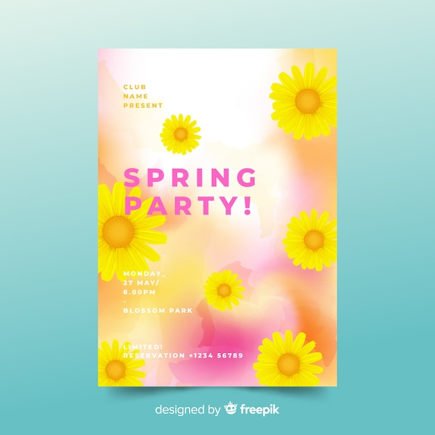 Spring party flyer Free Vector