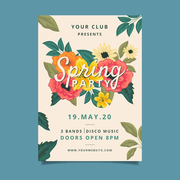 Spring party poster template style Free Vector