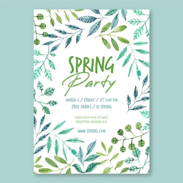 봄 파티 포스터 템플릿 무료 벡터