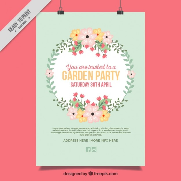 spring party poster with cute floral wreath vector free download