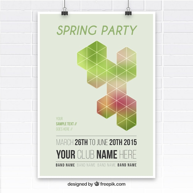 Spring party poster with geometrical shapes Free Vector