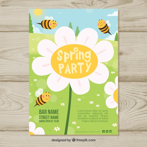 spring party template with bees vector free download
