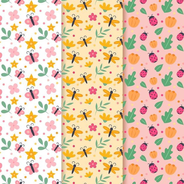 Spring pattern collection with butterflies and ladybugs Free Vector