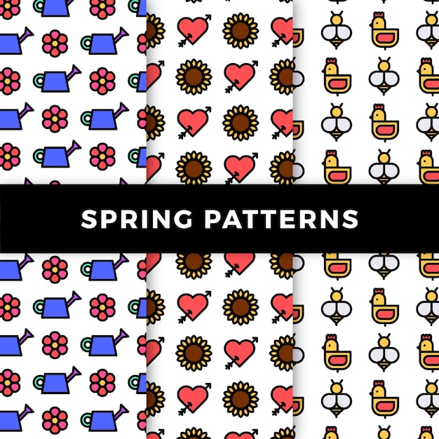 Spring pattern collection with flowers and chickens Free Vector