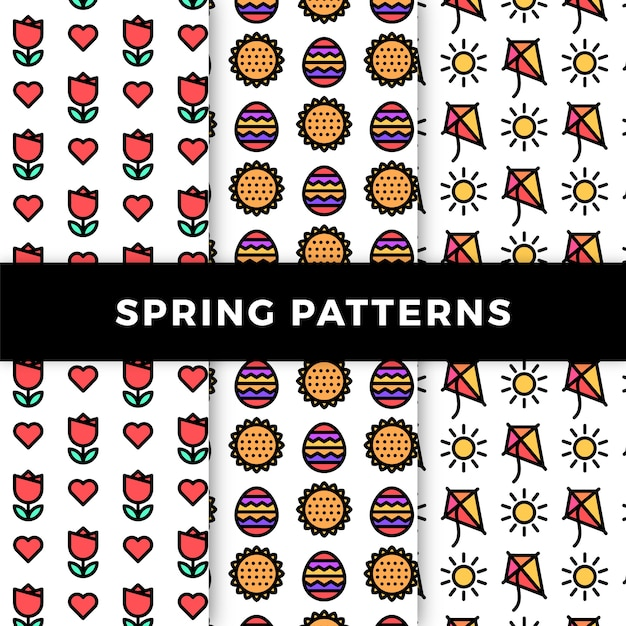 Spring pattern collection with flowers and kites Free Vector