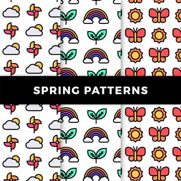 虹と蝶と春のパターンコレクション 無料ベクター