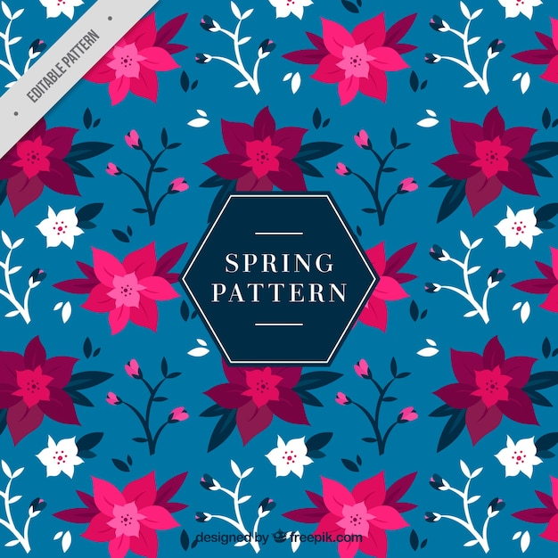 Spring pattern with flowers in purple\ tones