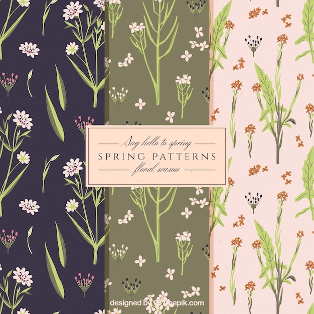 Spring patterns in vintage style Free Vector