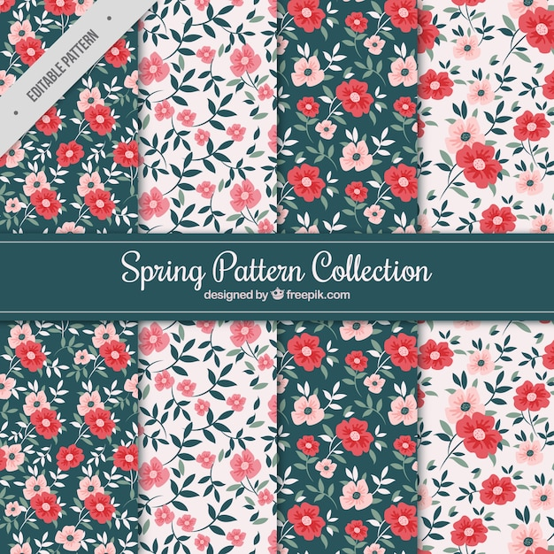 Spring patterns with red and pink flowers Free Vector