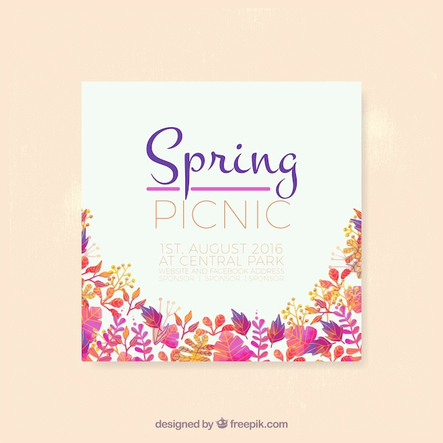 Spring picnic flyer Free Vector