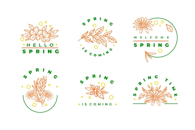 Spring pink flowers and green lettering badge collection Free Vector