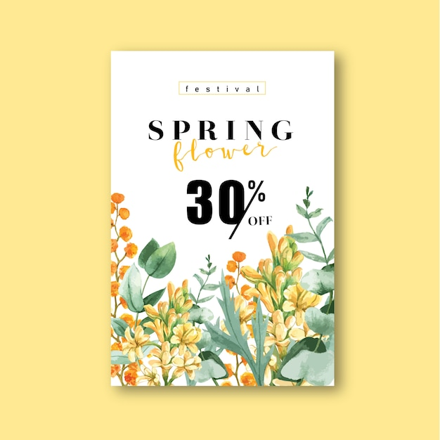 Spring poster fresh flowers, decor card with floral colorful garden, wedding, invitation Free Vector