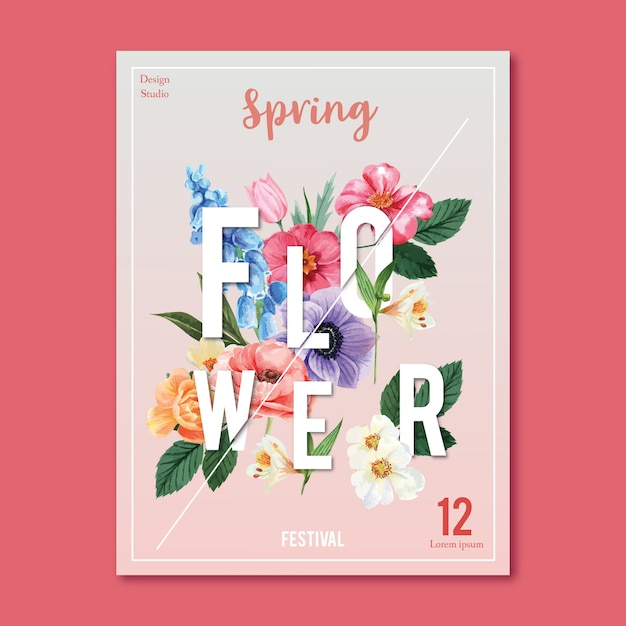 Spring poster fresh flowers Free Vector