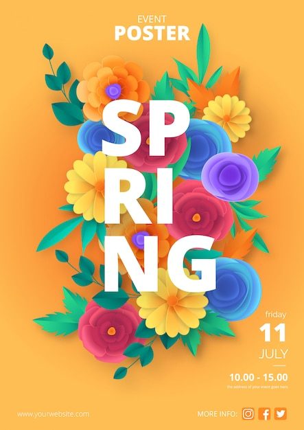 Spring poster template with colorful paper cut flowers Free Vector