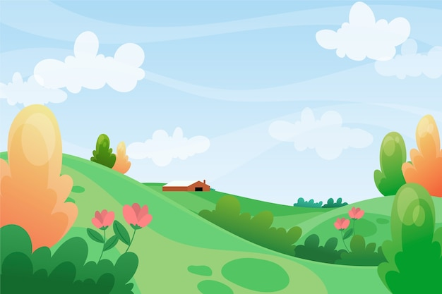 緑の丘と青い空と春のリラックスした風景 Premiumベクター