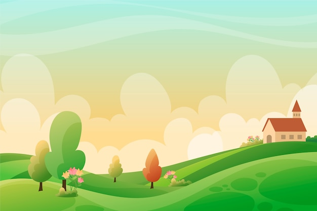 Spring relaxing landscape with green hills and church Free Vector