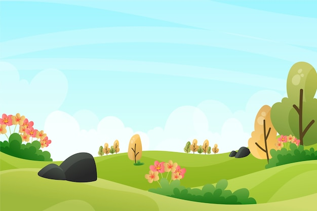 Spring relaxing landscape with trees in sunny day Free Vector
