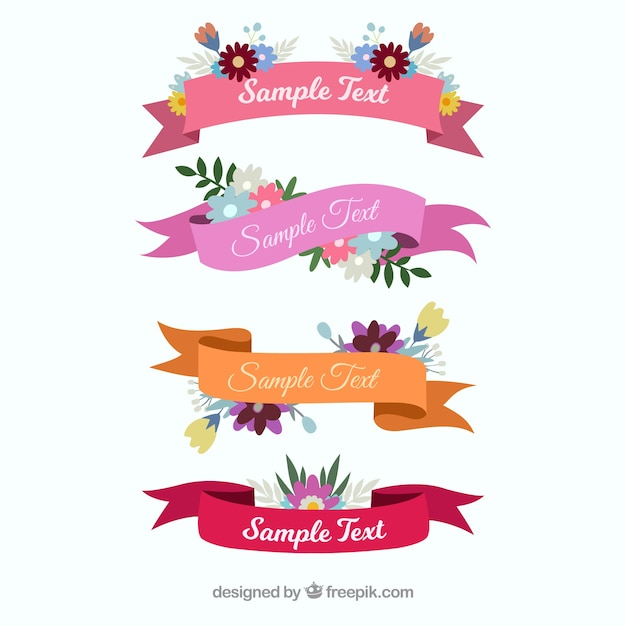 Spring ribbon collection of four Free Vector