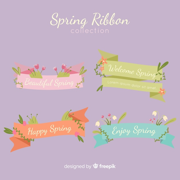 Spring ribbon collection Free Vector
