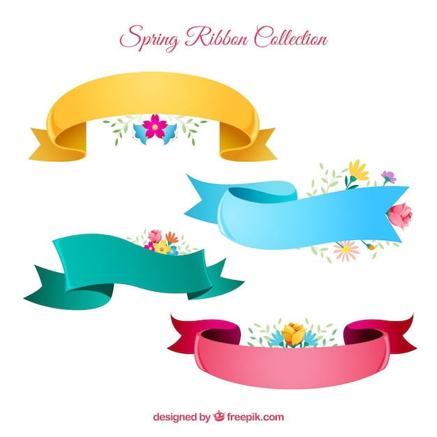 Spring ribbon set in four colors Free Vector