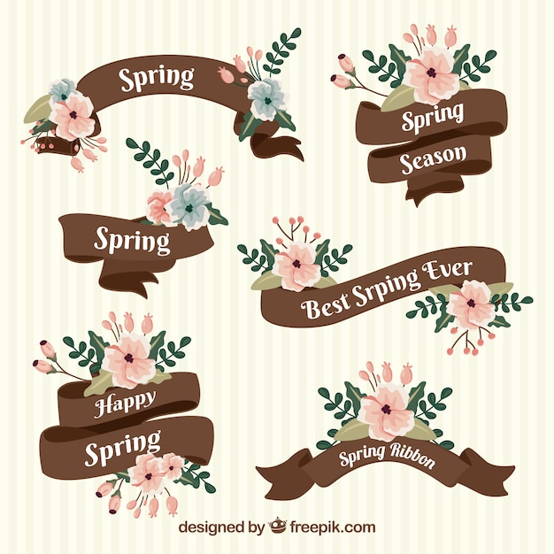 Spring ribbons collection Free Vector