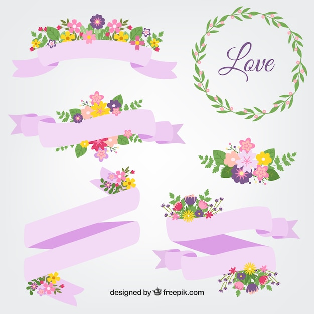Spring ribbons Free Vector