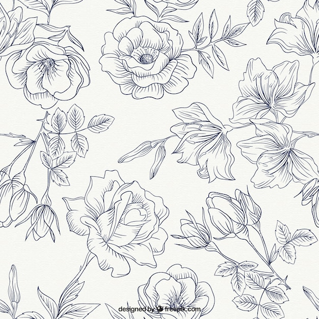 Vector Line Drawing Flower Pattern : Flower pattern vectors photos and psd files free download
