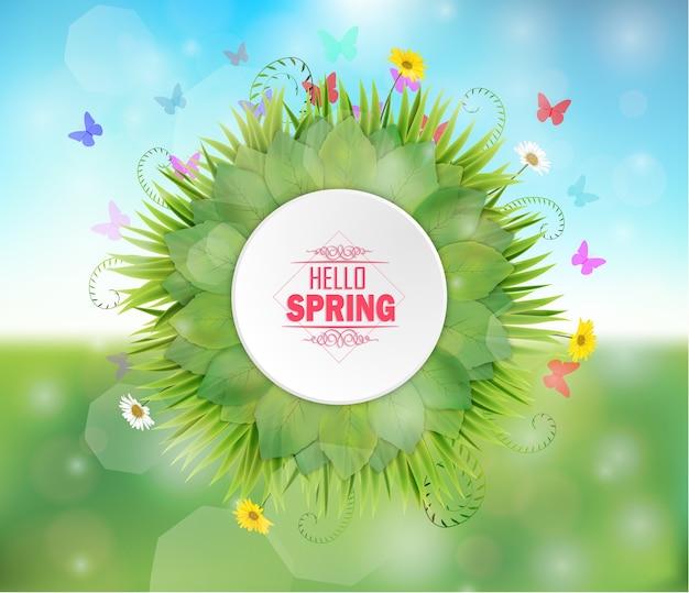 Spring round frame on bokeh background Premium Vector
