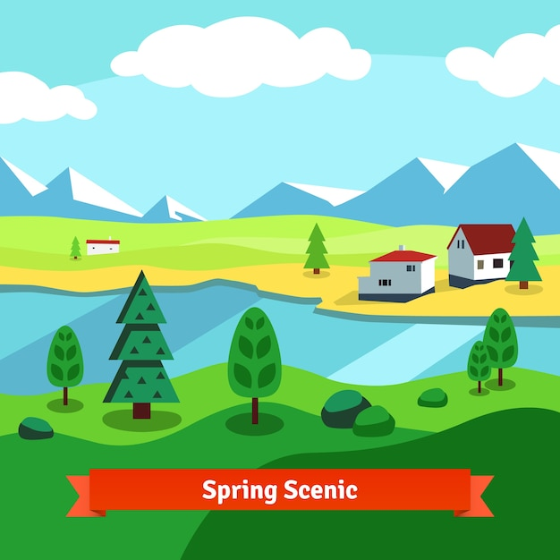 Spring rural farm riverside scenic with mountains Free Vector