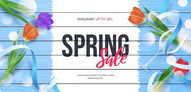 Spring sale 3d banner  frame illustration Premium Vector