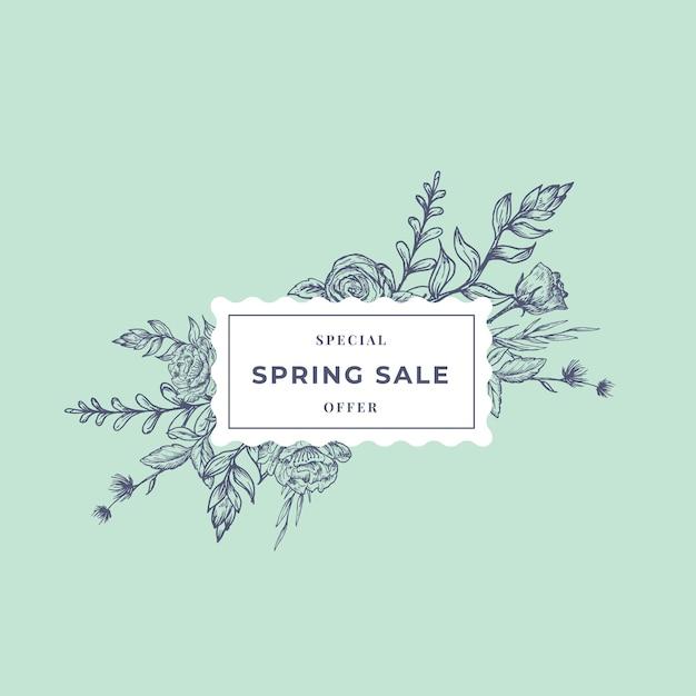 春のセール抽象的な植物のバナーまたはractangle花柄のラベル。 Premiumベクター