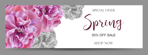 Spring sale background  banners Premium Vector