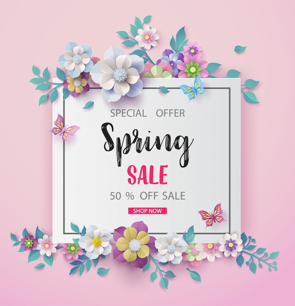 Spring sale background with beautiful   flower Premium Vector